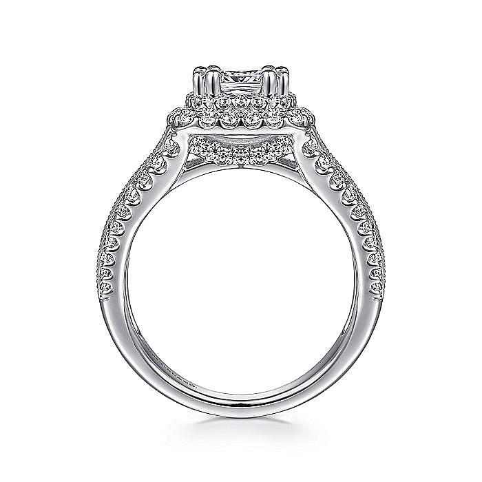 Platinum Cushion Double Halo Diamond Engagement Ring