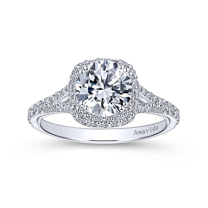 Platinum Cushion Double Halo Round Diamond Engagement Ring