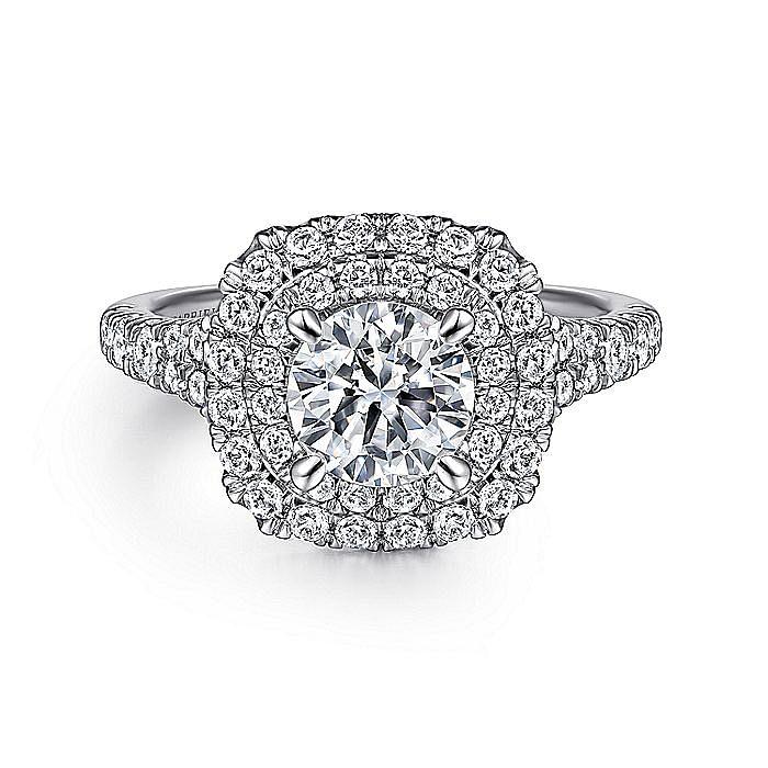 Platinum Cushion Double Halo Round Diamond Engagement Ring