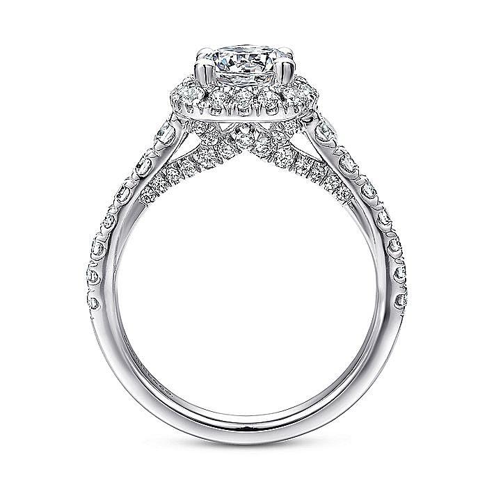 Platinum Cushion Halo Round Diamond Engagement Ring