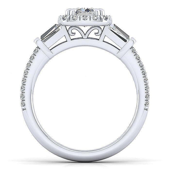 Platinum Cushion Three Stone Halo Diamond Engagement Ring