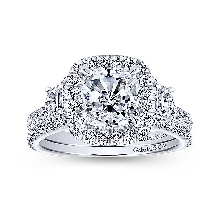 Platinum Cushion Three Stone Halo Diamond Engagement Ring