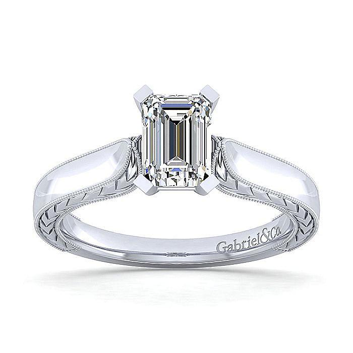 Platinum Emerald Cut Diamond Engagement Ring