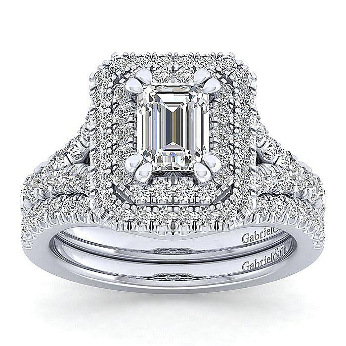 Platinum Emerald Cut Double Halo Diamond Engagement Ring