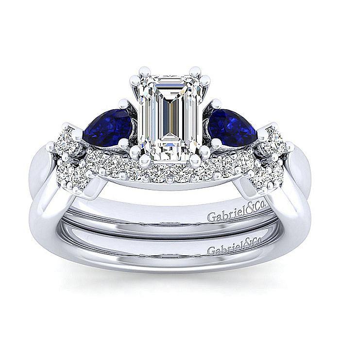 Platinum Emerald Cut Five Stone Sapphire and Diamond Engagement Ring