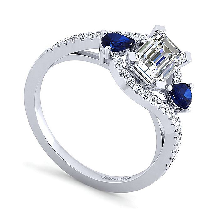 Platinum Emerald Cut Three Stone Sapphire and Diamond Engagement Ring