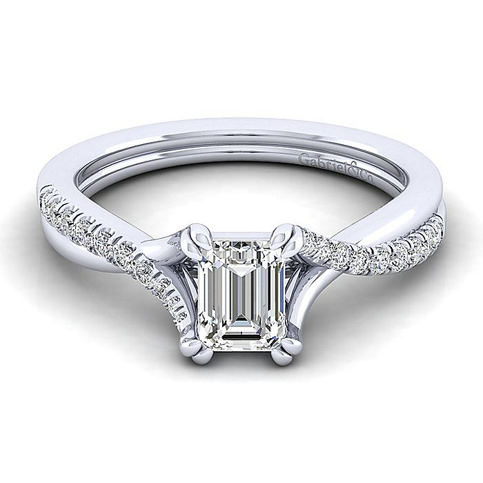 Platinum Emerald Cut Twisted Diamond Engagement Ring