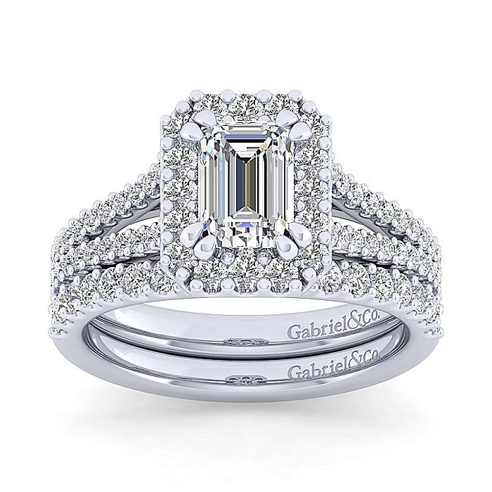 Platinum Emerald Halo Diamond Engagement Ring