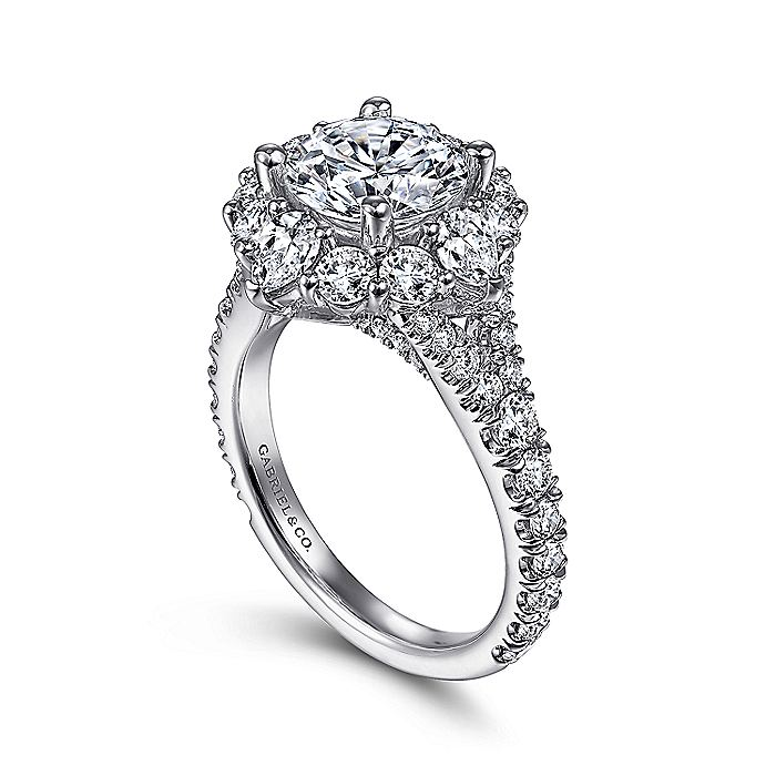 Platinum Fancy Halo Round Diamond Engagement Ring