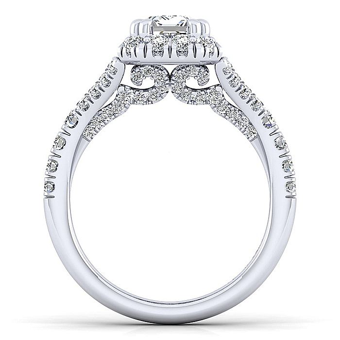 Platinum Halo Emerald Cut Diamond Engagement Ring