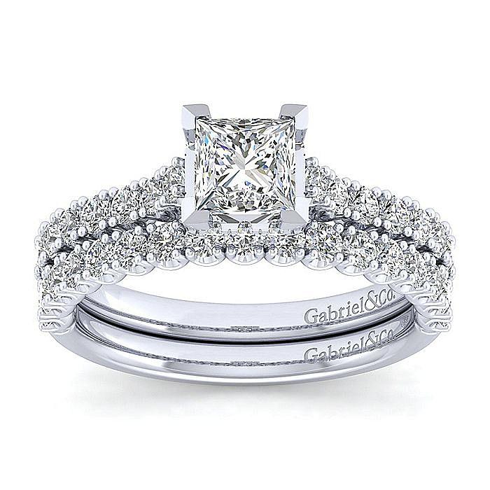 Platinum Hidden Halo Princess Cut Diamond Engagement Ring