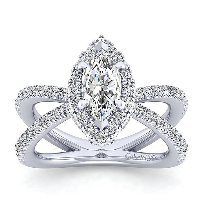 Platinum Marquise Halo Diamond Engagement Ring
