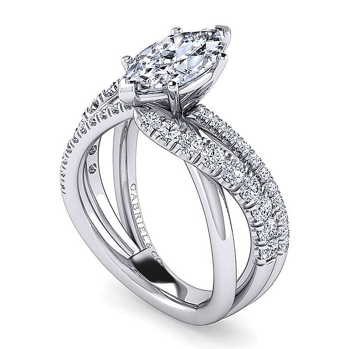 Platinum Marquise Shape Free Form Diamond Engagement Ring