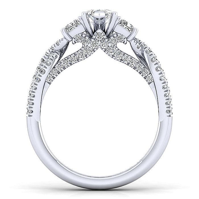 Platinum Marquise Shape Three Stone Diamond Engagement Ring