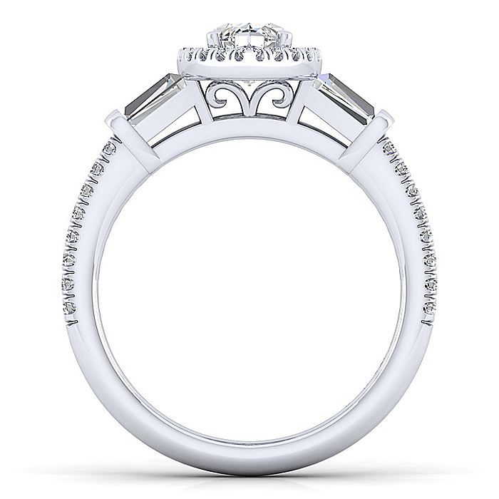 Platinum Marquise Shape Three Stone Halo Diamond Engagement Ring