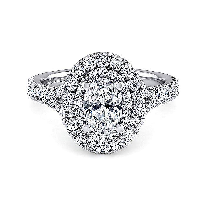 Platinum Oval Double Halo Diamond Engagement Ring
