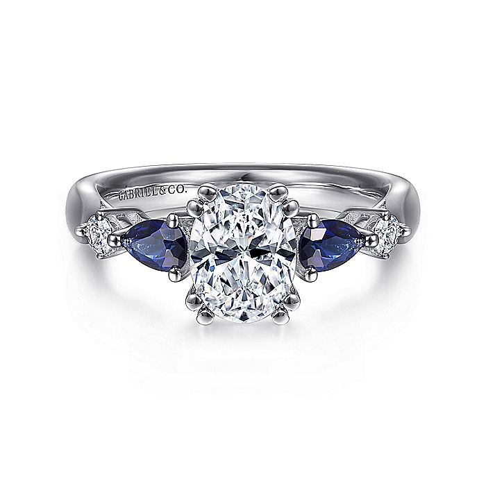 Platinum Oval Five Stone Sapphire and Diamond Engagement Ring