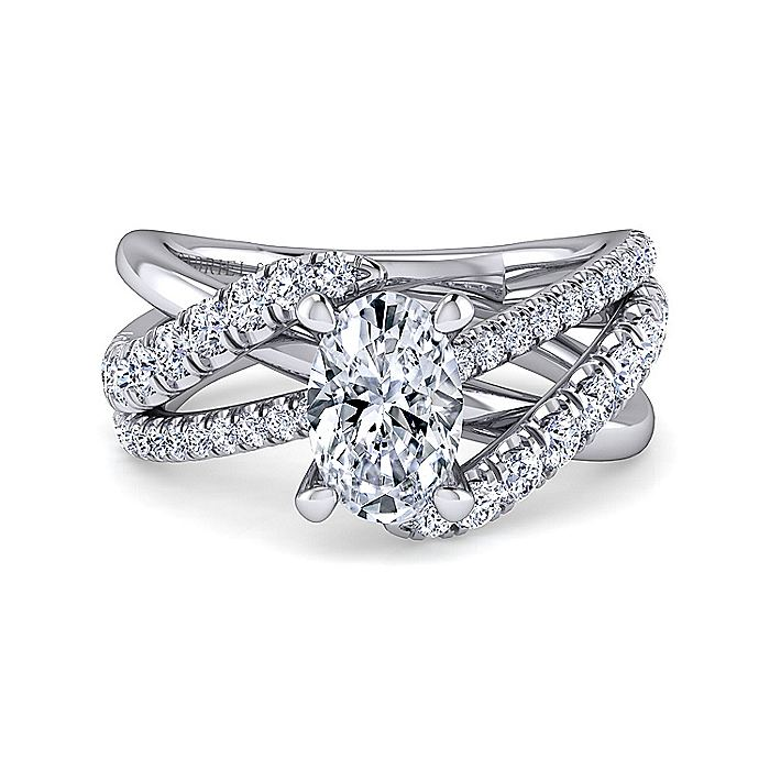 Platinum Oval Free Form Diamond Engagement Ring