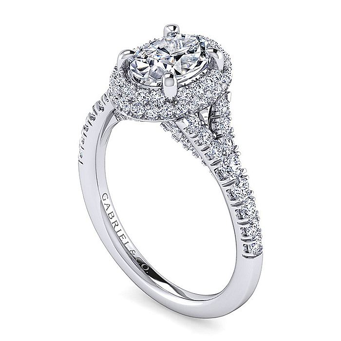Platinum Oval Halo Diamond Engagement Ring