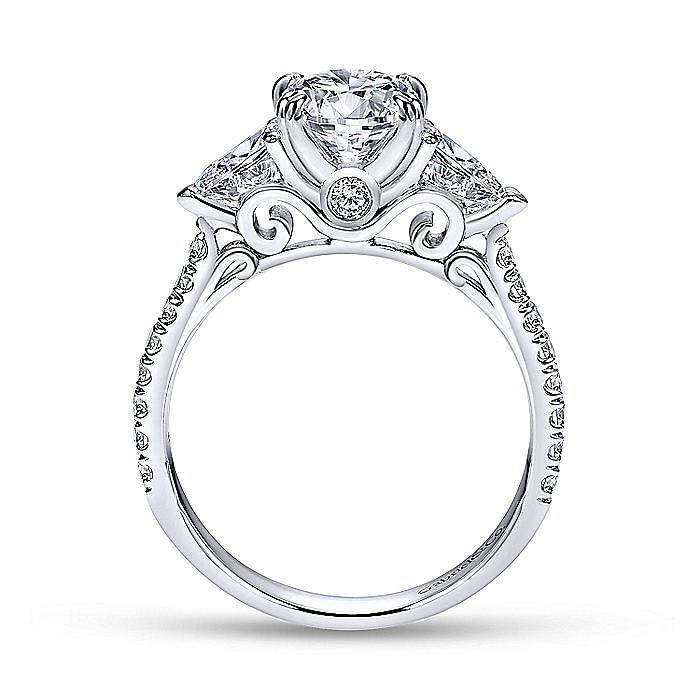 Platinum Oval Three Stone Diamond Engagement Ring