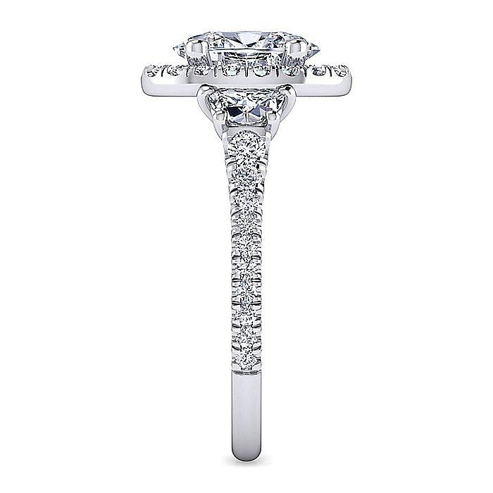Platinum Oval Three Stone Halo Diamond Engagement Ring