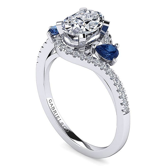 Platinum Oval Three Stone Sapphire and Diamond Engagement Ring
