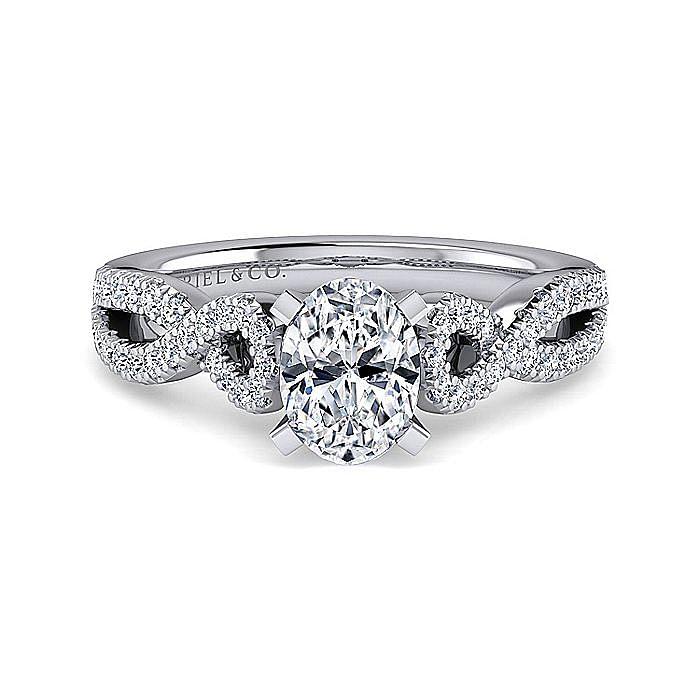 Platinum Oval Twisted Diamond Engagement Ring