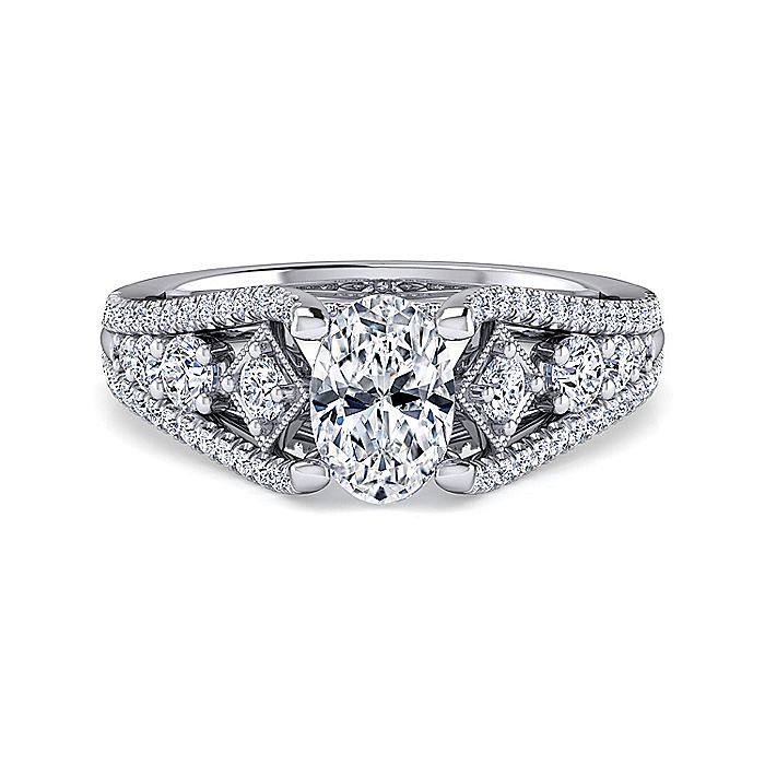 Platinum Oval Wide Band Diamond Engagement Ring