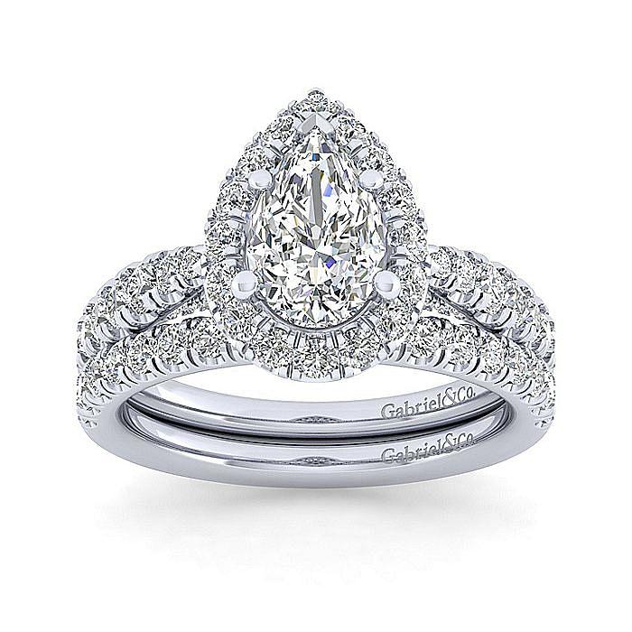 Platinum Pear Shape Halo Diamond Engagement Ring