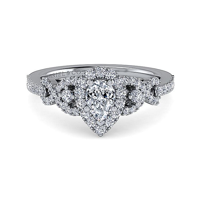 Platinum Pear Shape Three Stone Halo Diamond Engagement Ring
