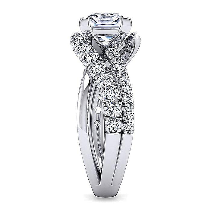 Platinum Princess Cut Free Form Diamond Engagement Ring
