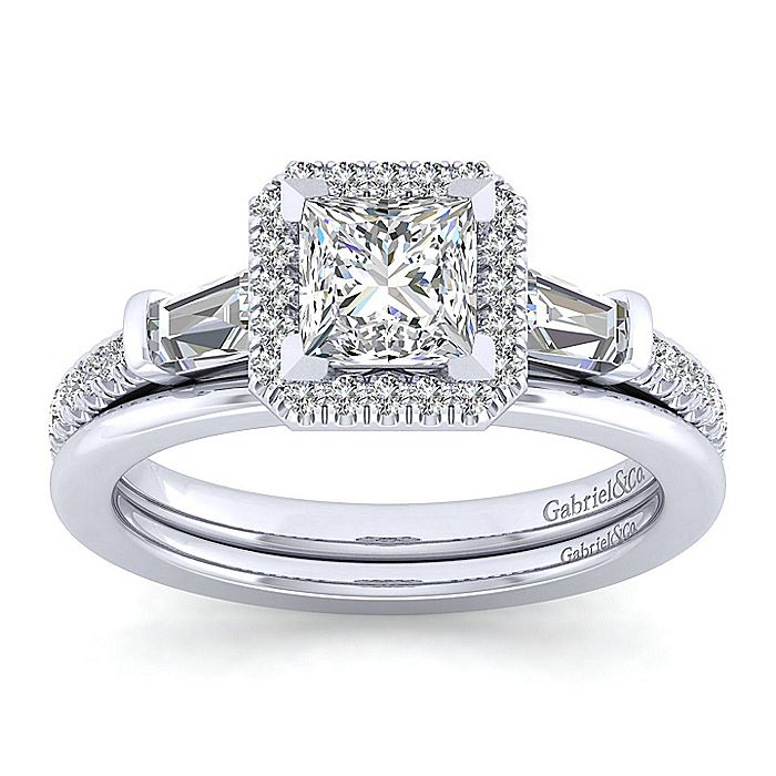Platinum Princess Cut Three Stone Halo Diamond Engagement Ring