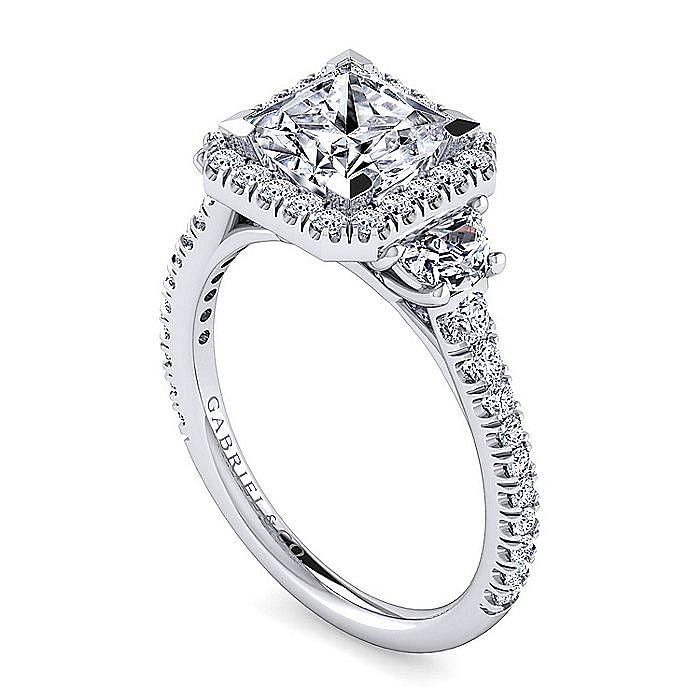 Platinum Princess Cut Three Stone Halo Diamond Engagement Ring