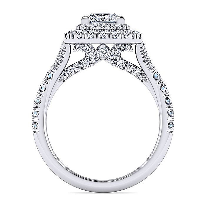 Platinum Princess Double Halo Diamond Engagement Ring