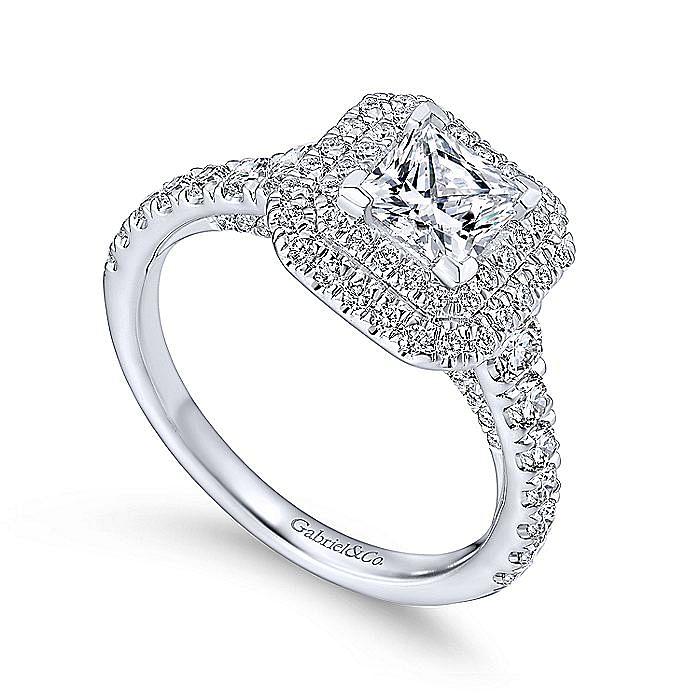 Platinum Princess Double Halo Diamond Engagement Ring