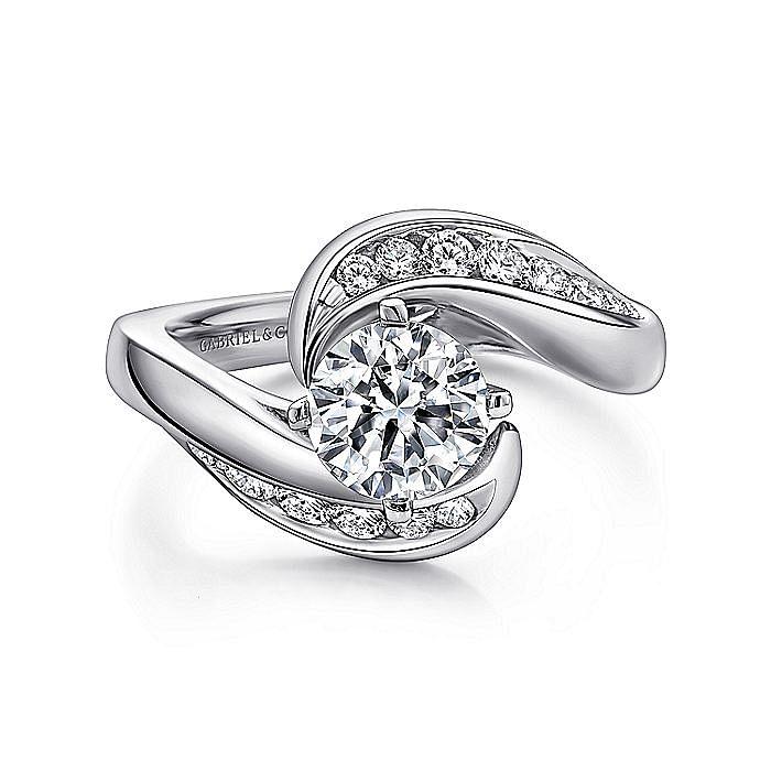 Platinum Round Bypass Diamond Engagement Ring
