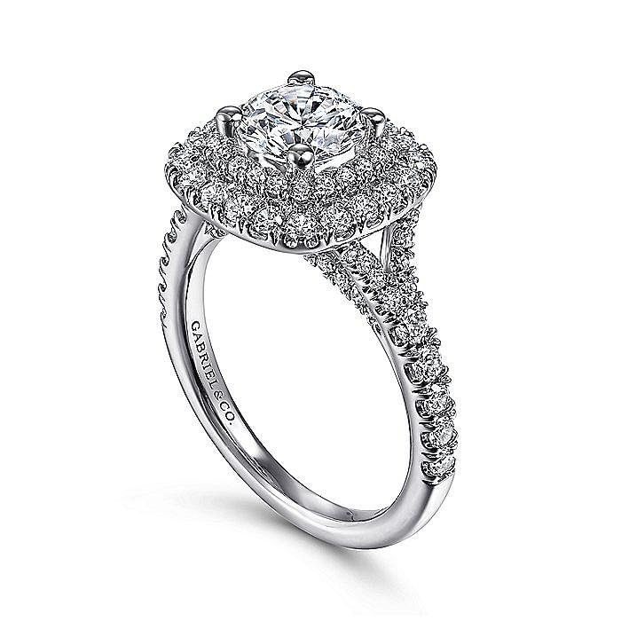 Platinum Round Double Halo Round Double Halo Diamond Engagement Ring