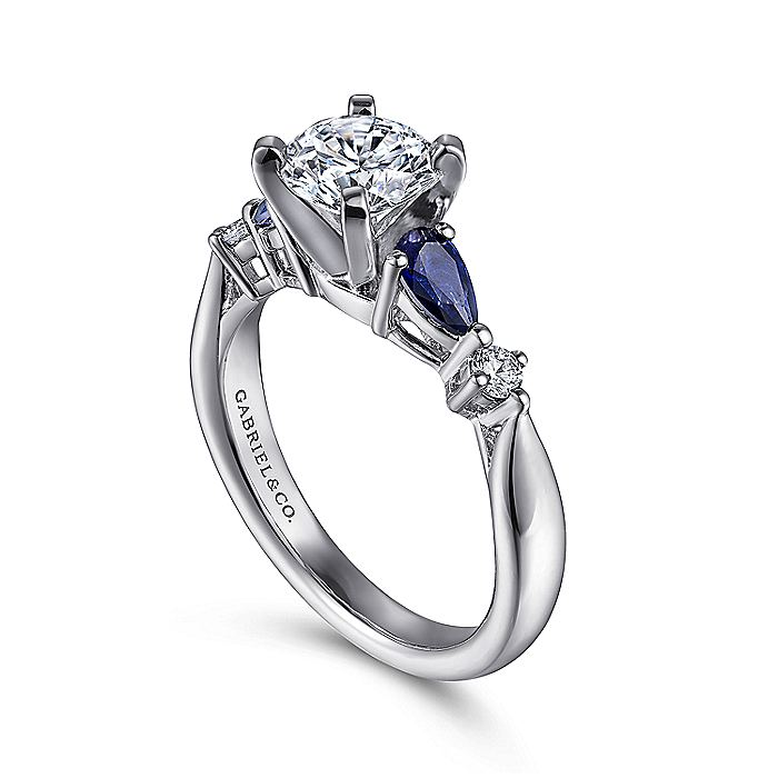 Platinum Round Five Stone Sapphire and Diamond Engagement Ring