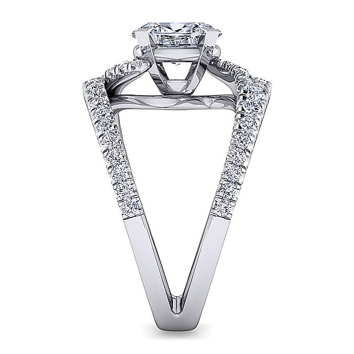 Platinum Round Split Shank Diamond Engagement Ring