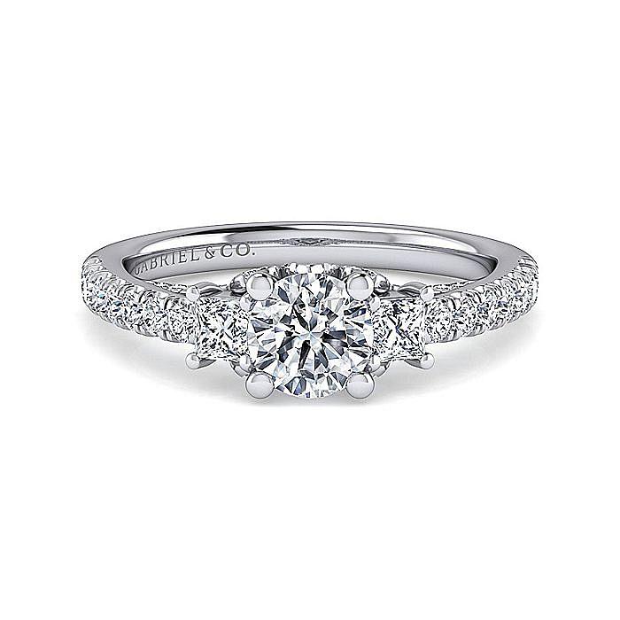 Platinum Round Three Stone Diamond Engagement Ring