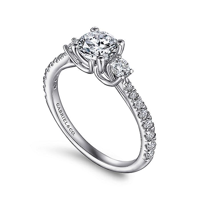 Platinum Round Three Stone Diamond Engagement Ring