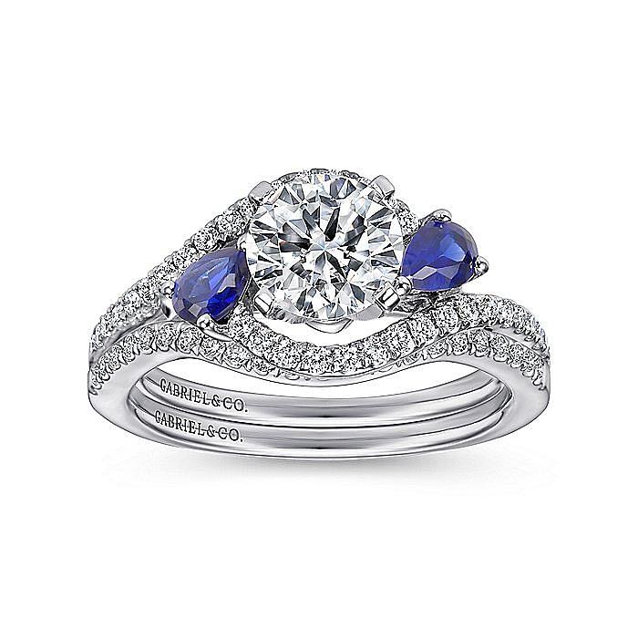Platinum Round Three Stone Sapphire and Diamond Engagement Ring