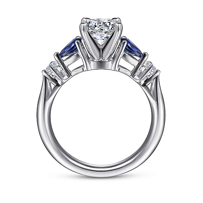 Platinum Round Three Stone Sapphire and Diamond Engagement Ring
