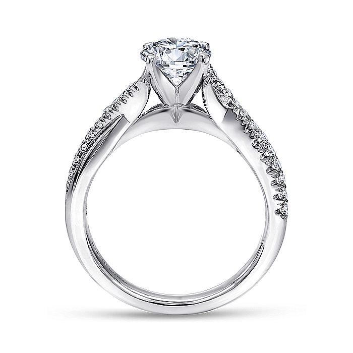 Platinum Round Twisted Diamond Engagement Ring