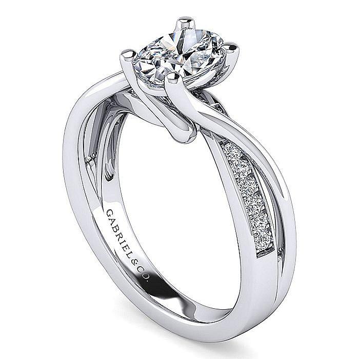 Platinum Twisted Oval Diamond Engagement Ring