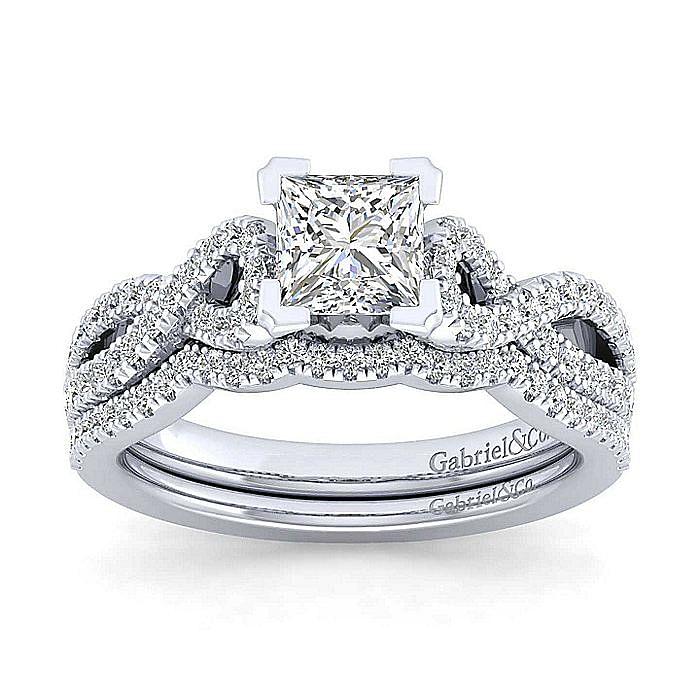 Platinum Twisted Princess Cut Diamond Engagement Ring
