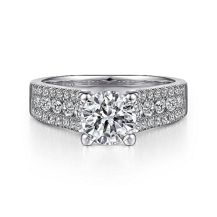 Platinum Wide Band Round Diamond Engagement Ring