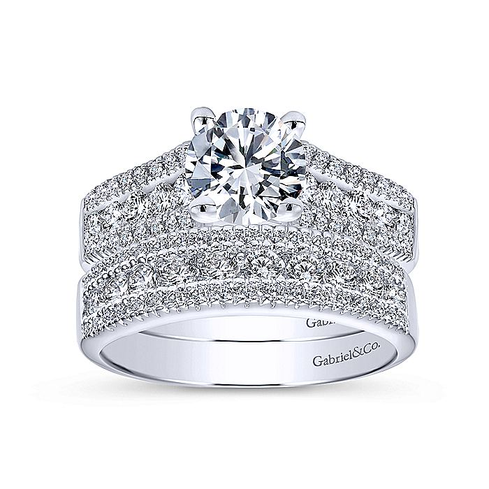 Platinum Wide Band Round Diamond Engagement Ring