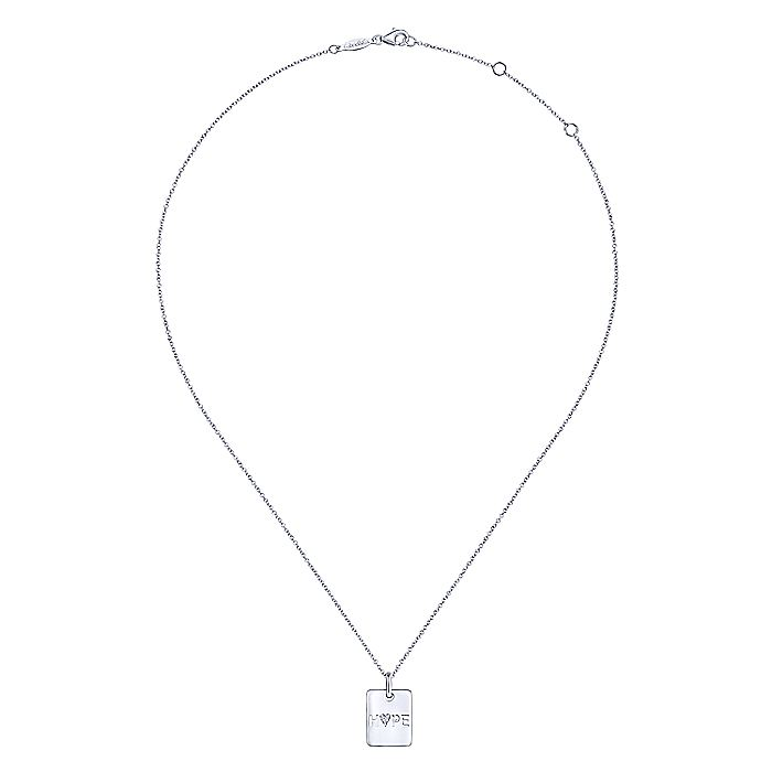 Rectangular 925 Sterling Silver White Sapphire Hope Pendant Necklace