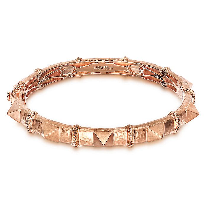 Rose Plated 925 Sterling Silver Pyramid Station Bangle
